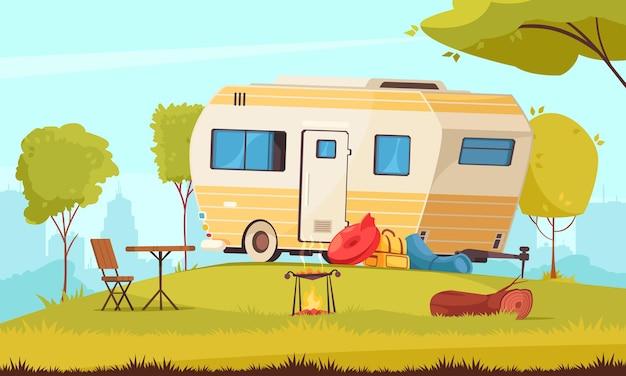Прицеп за пределами площадки с кемпинговым столом, складной стул, барбекю в пригороде, караван-парк, иллюстрация мультяшной композиции