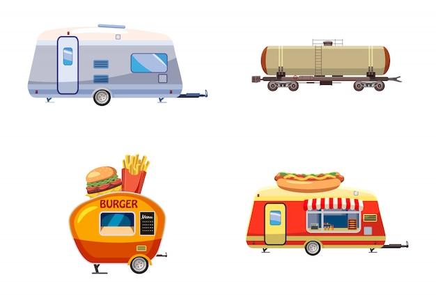 Trailer set. cartoon set of trailer