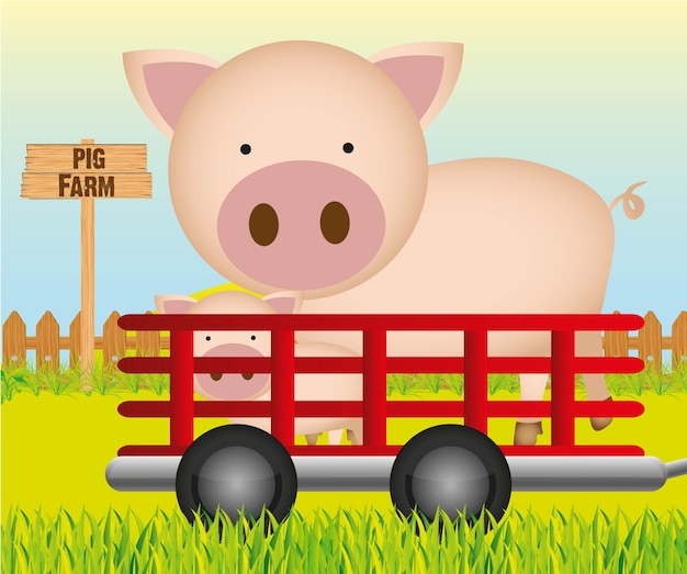 Trailer with pig farm background vector illustration