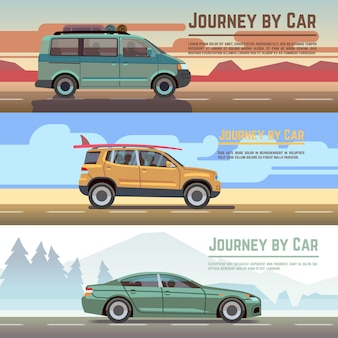 Trailering by car  banners set