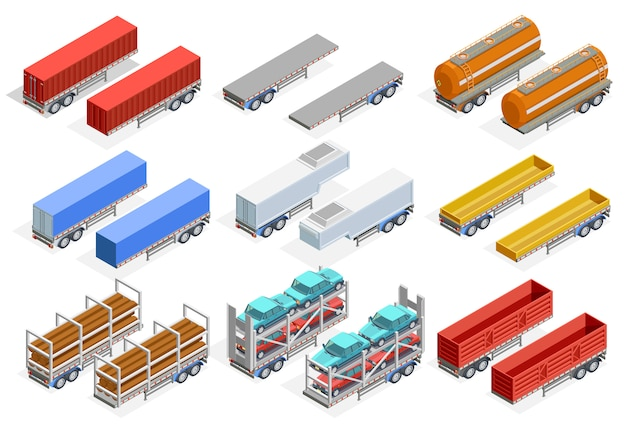 Trailers isometric set