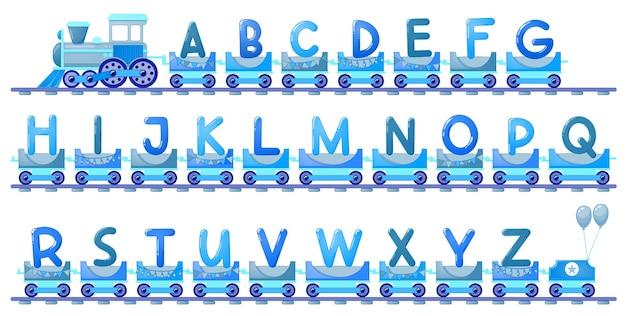 만화 스타일의 아이를 위한 기차 알파벳입니다. 대문자만. 학교, 유치원, 유치원에서 어린이 교육을 위한 벡터 abc 문자입니다.