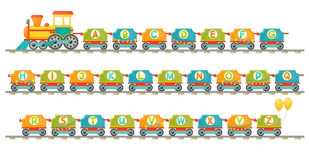 Train alphabet for kid in cartoon style. capital letters only. vector abc letters for children educaion in school, preschool and kindergarten.
