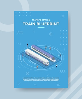 Train blueprint concept for template banner and flyer with isometric style