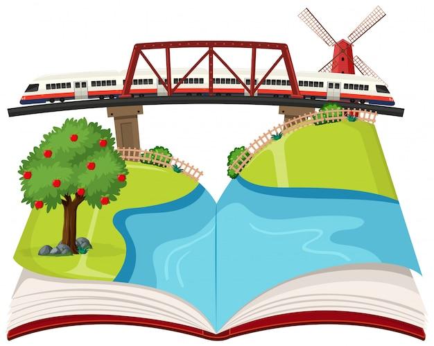 Train on bridge book