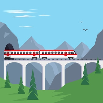 Train on bridge in mountains