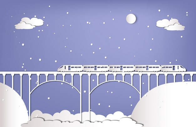 Train on the bridge in winter season paper cut style
