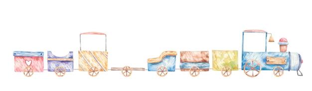 Вагоны колеса милая акварель детская иллюстрация