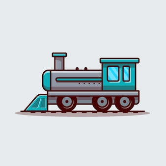 기차 만화 벡터 아이콘 그림. 대 중 교통 아이콘 개념 고립 된 벡터입니다. 플랫 만화 스타일