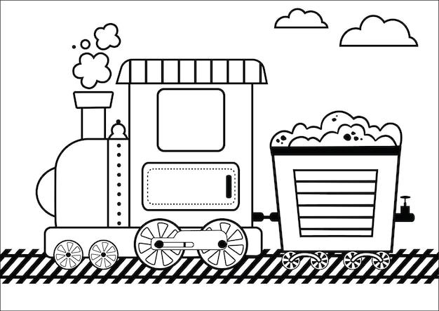 Раскраска поезд для детей векторные иллюстрации
