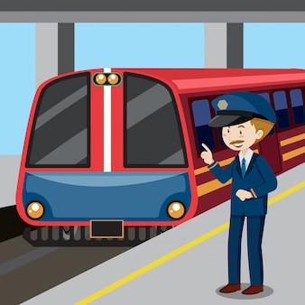鉄道の指揮者と列車