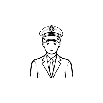Train conductor hand drawn outline doodle icon. train station, railway travel and transportation concept