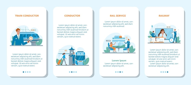 Train conductor mobile application banner set