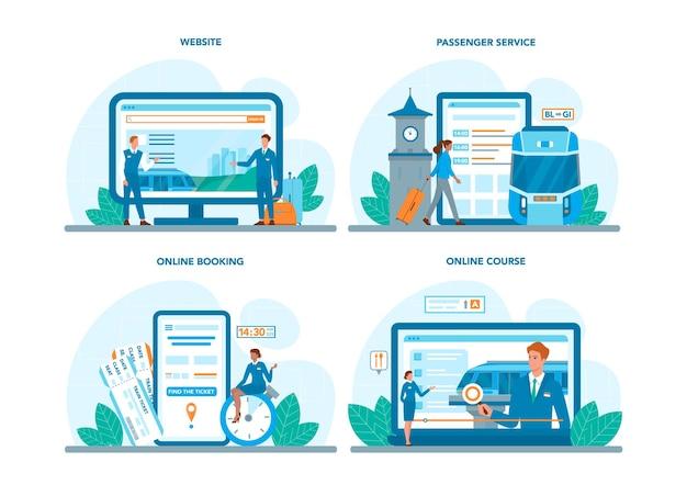 Train conductor online service or platform set