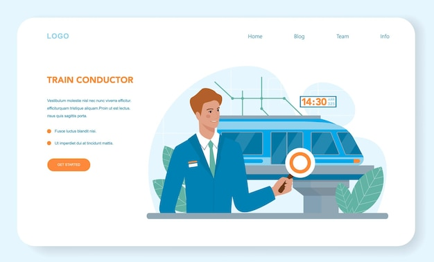 Train conductor web banner or landing page railway worker