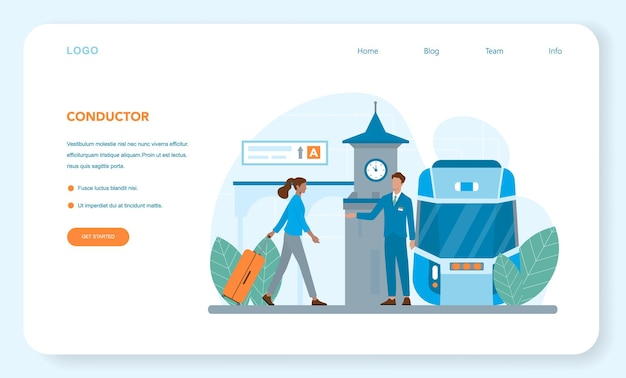 Train conductor web banner or landing page. railway worker