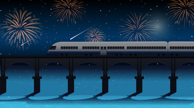 Train cross the river with celebration fireworks scene Free Vector