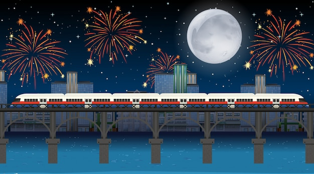 Train cross the river with celebration fireworks scene