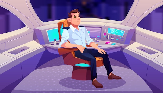 Train driver in cockpit cartoon illustration