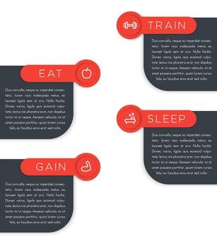훈련, 식사, 수면, 이득, 레이블, 피트니스 아이콘이있는 배너