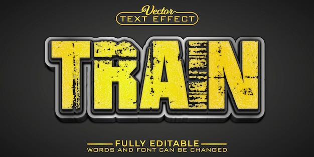 Train editable text effect template