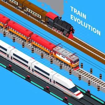 Train evolution isometric composition