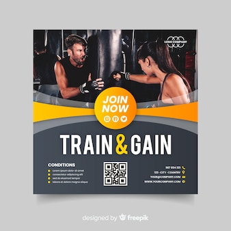 Train and gain sport flyer with image