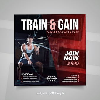 Train and gain sport flyer with photo