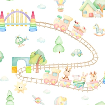 Train, giraffe, horse, darling, rabbit, mouse, donkey, balloon, house, bridge, helicopter, plane, car. watercolor seamless pattern