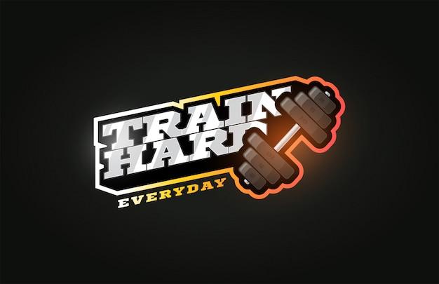 Train hard современный профессиональный спортивный логотип в стиле ретро