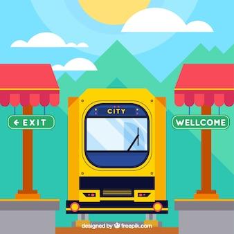 기차가 맑은 도시에 도착했습니다