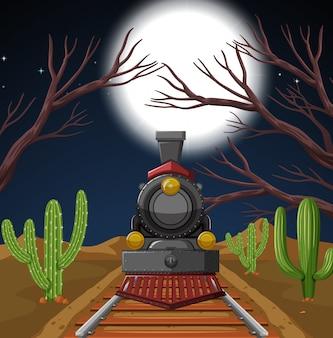 Поезд в ночной пустынной сцене
