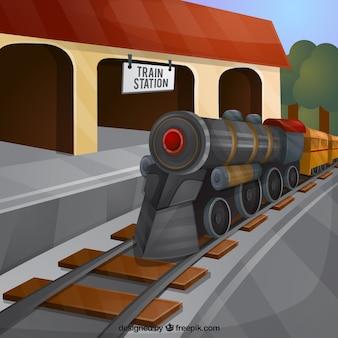 기차역 배경에서 기차