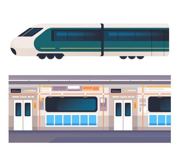 Поезд внутри и снаружи изолированного набора концепции интерьера.
