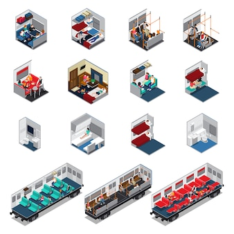 Train interior isometric set