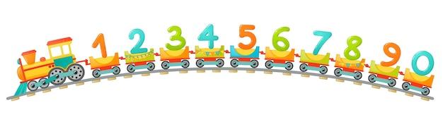 Train kids in cartoon style. numbers only. vector numbers for children math educaion in school, preschool and kindergarten.