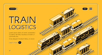 Train logistics service isometric web banner. Locomotive pulling freight train