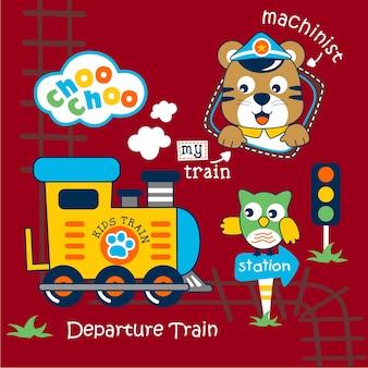 Train and machinist funny animal cartoon
