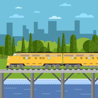 Train moving on bridge, illustration of cityscape