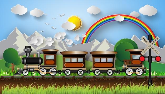 산의 배경에 기차