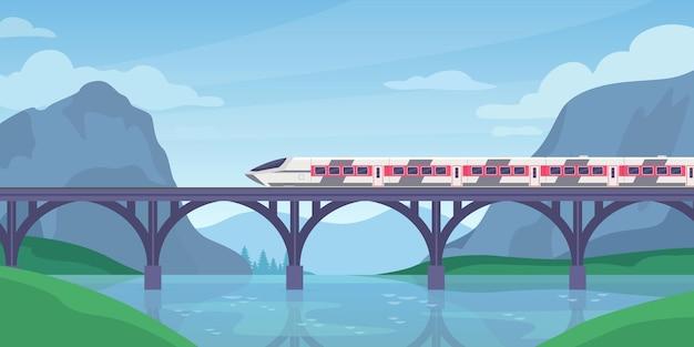 橋で電車に乗る。鉄道の高速電車と山の風景。高速鉄道輸送。旅行の冒険旅行ベクトルの概念。橋のレール、鉄道の風景のイラスト列車