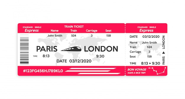 Train pass ticket isolated on white
