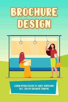 Train passenger standing in carriage near muslim woman with box. arabian, abaya, niqab. flat vector illustration