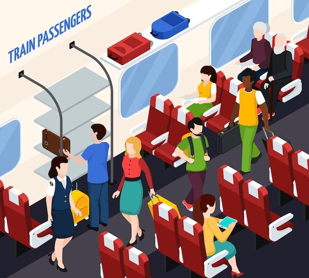 Train passengers isometric composition
