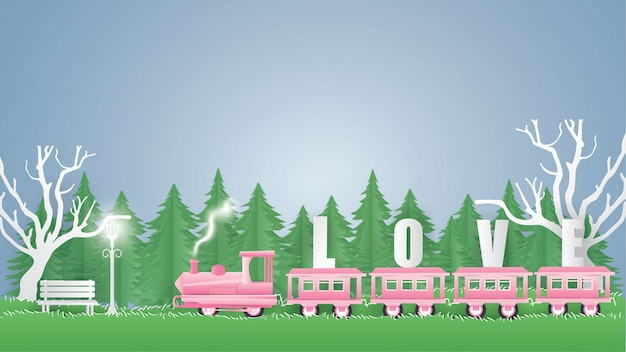 Train pink carry text love
