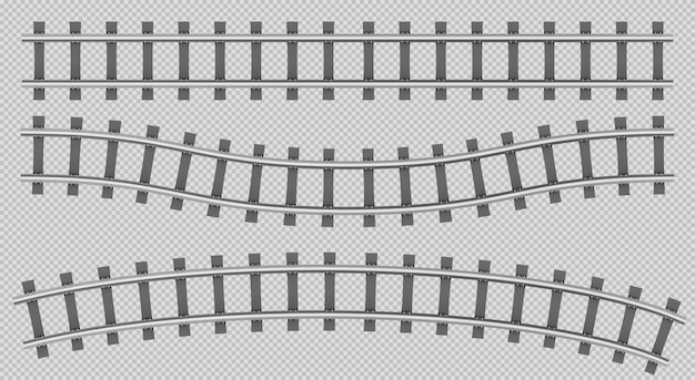 Train rails top view, railway track construction