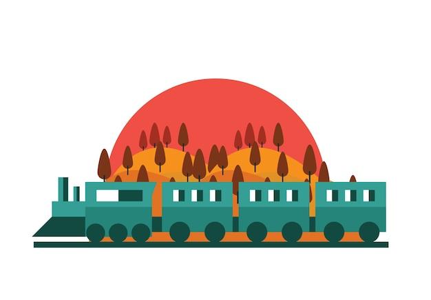 列車、鉄道。夕日の森の風景。ベクトルフラットイラスト。