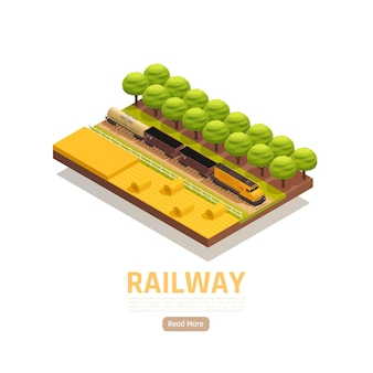 Train railway station isometric illustration with field scenery and freight train with text and clickable button