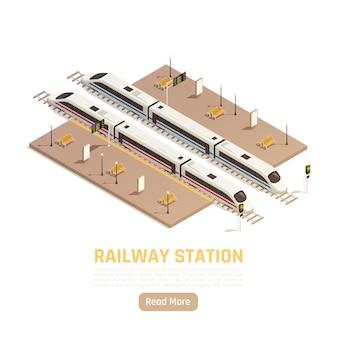 Illustrazione isometrica della stazione ferroviaria del treno con testo modificabile del pulsante leggi altro e piattaforme con treni intercity