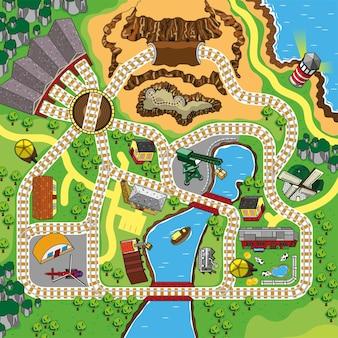 어린이 놀이 매트와 롤 매트를 위한 아름다운 고향 풍경이 있는 기차 철도 트랙 맵